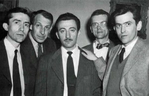 figure 23 Members of the Modern Artists Group of Boston, meeting at the Old South Meeting House, Boston (left to right): Hyman Bloom, Karl Zerbe, David Aronson, architect Robert Woods Kennedy, and Jack Levme, March 1948. Courtesy Mercury Gallery, Boston, MA