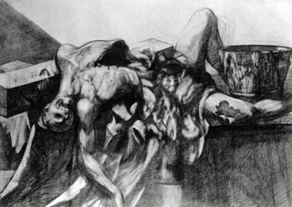 "Bloom's ""Cadaver II"" (drawing). Modern man's  shockingly new insight into his pitiful and defenseless  mortality."